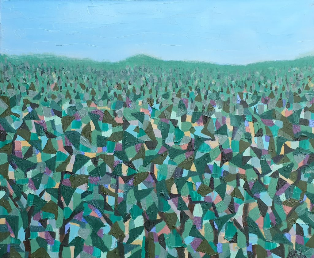 Shem Sharples painting, The Ridge #2, oil on canvas, 500x600mm.  An abstracted sea of trees heading back to the horizon